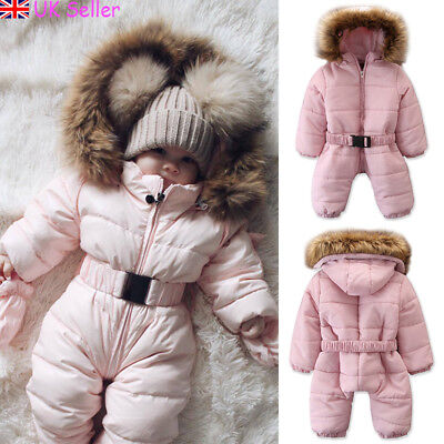 UK Toddler Baby Girl Boy Winter Warm Romper Jacket Hooded Jumpsuit Coat Outfits