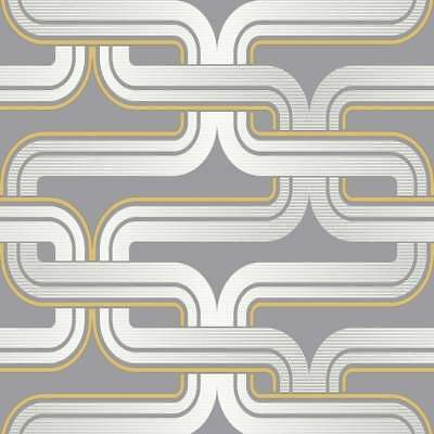 Arthouse Retro Grey Yellow Link Chain 60s 70s Vintage Effect Wallpaper 902405