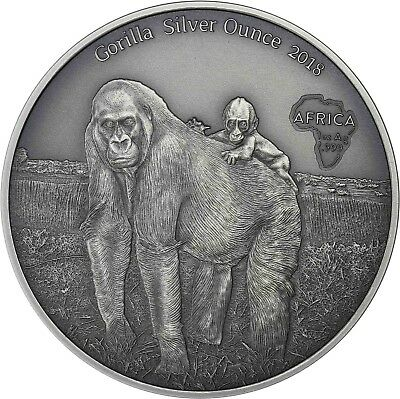 Gorilla with Baby Silver Ounce 2018 Congo 1000 Francs 2018 Antique Finish