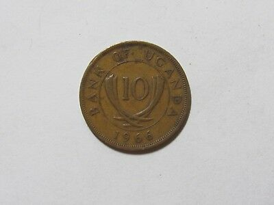 Old Uganda Coin - 1966 10 Cents - Circulated, spots, rim dings