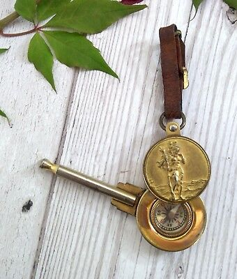 Vintage Unusual St Christopher Compass Keyring - Travelling charm