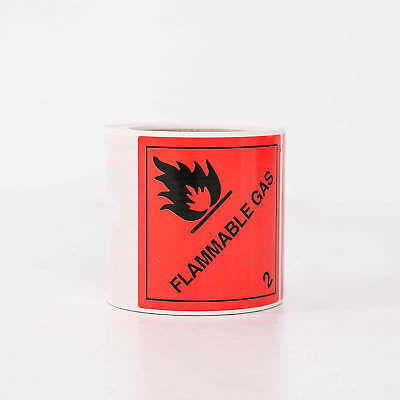 Package Label Class 2.1 Flammable Gas Hazard Sign Sticker- Roll of 250 - 100mm