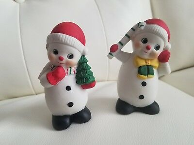 Vintage 1980's Pair of Snowmen Ceramic Wal Mart Made in Taiwan Super Cute