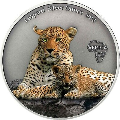 Leopard Silver Ounce 2018 Cameroon 1000 Francs Antique Finish coloured Coin