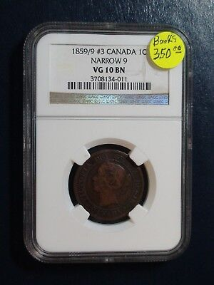 1859/9 #3 Canada LARGE Cent NGC VG10 BN NARROW 9 1C Coin PRICED TO SELL!