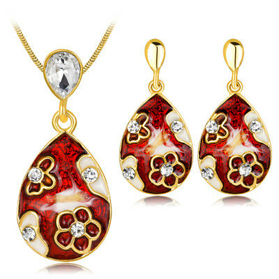 Gold Plated Colored Jewelry Set Crystal Waterdrop Oil Painting Pattern Pendant