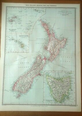 Antique Map c.1906 - New Zealand & Tasmania General Map - Harmsworth Atlas