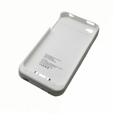 CUSTODIA COVER CARICA BATTERIA ESTERNA X APPLE IPHONE 4/4S 1900 mAh BIANCA