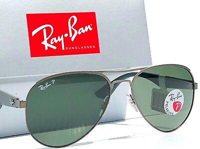 96895adcab NEW  Ray Ban Gunmetal 59mm Aviator POLARIZED Green Lens Sunglass RB 3523 029  9a