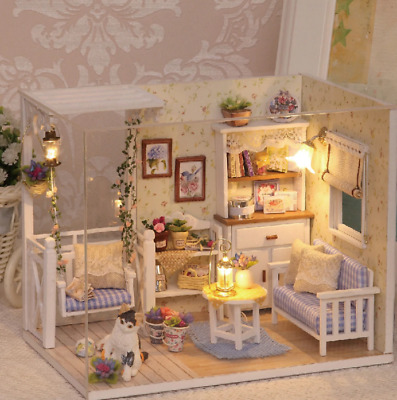 Doll House Miniature DIY Room With Furniture 1:24 scale