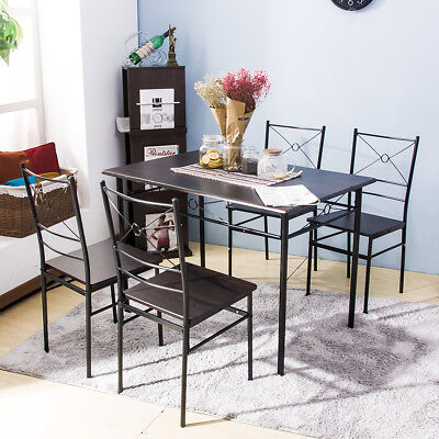 5 PCS Dining Table w/4Chairs Wood Metal Dining Sets Kitchen  Breakfast Furniture