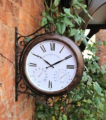 Garden Station Bracket Wall Clock Thermometer Humidity Outdoor Double Sided