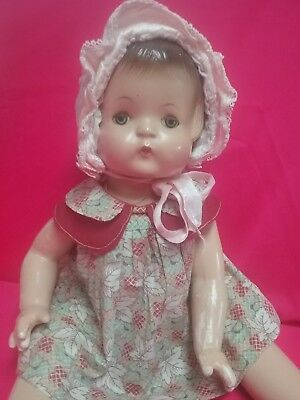 Vintage Effanbee Patsy Ann composition doll 1930s dress side snap oil cloth shoe