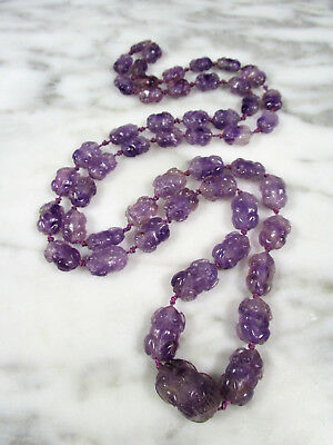 Antique Chinese Qing Dynasty Carved Frog Crab Graduated Amethyst Bead Necklace
