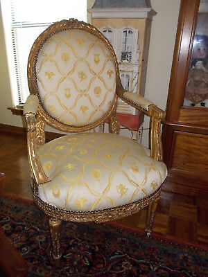 Pair 19th Century French Louis XVI Style antiqueSettee + fauteuils chairs estate