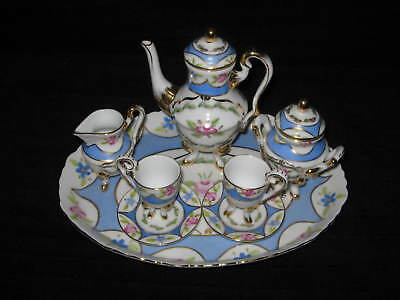 """NEW FRENCH SEVRES  """"VERSAILLES""""  CHILD'S BLUE & GOLD TEA SET w/UNDERPLATE"""