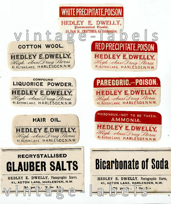 COLLECTION VINTAGE OLD CHEMISTS LABELS FROM HARLESDEN N LONDON inc RED POISONS