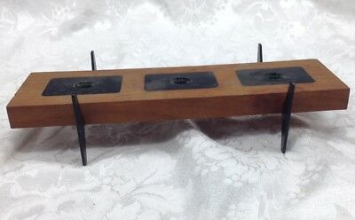 Vintage Danish Mid Century Modern 3 Candle Holder Abstract Wood & Black Metal