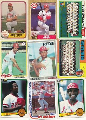 (36) lot of thirty six different Cincinnati Reds vintage baseball cards