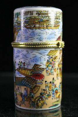 Chinese Decoration Handwork Porcelain Painting Ancient Canal Noble Toothpick Box