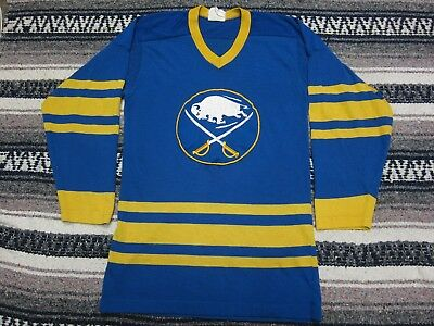 VTG 70s 80s NHL Buffalo Sabres Cotton Nylon Hockey Jersey Shirt Blue Small  S G62 c73839dfb