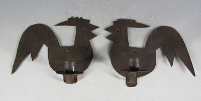 Vintage Pair Primitive Cut Iron Rooster Folk Art Wall Candle Holders Sconces yqz