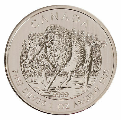 Lot of 5 - 2013 $5 1oz Silver Canadian Wood Bison .9999 BU