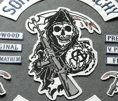 Anarchy Patch Sons of Reaper Motorrad Aufnäher Redwood Original Set Iron On