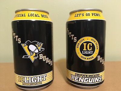 2 IC LIGHT Pittsburgh Penguins 12 oz. Beer Can EMPTY Iron City Beer NHL