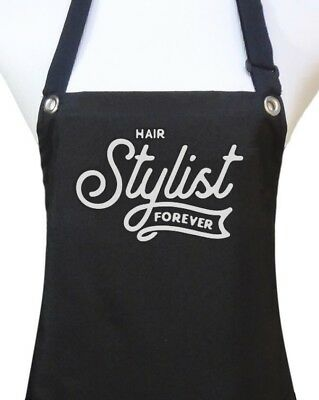 "Hair Stylist Apron ""STYLIST FOREVER"" waterproof salon hairdresser black new"
