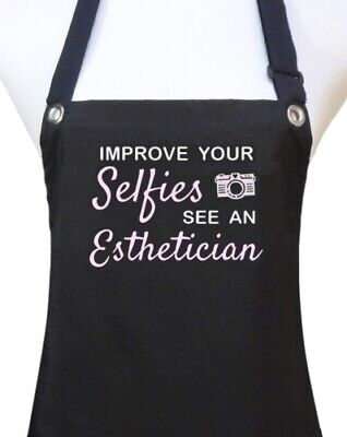 "Esthetician Apron ""IMPROVE YOUR SELFIES"" black salon waterproof facials new"