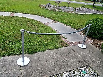 (2) Lawrence 318 Stanchion Posts Valet w/ Rope Sanctions Night Club Bar Party
