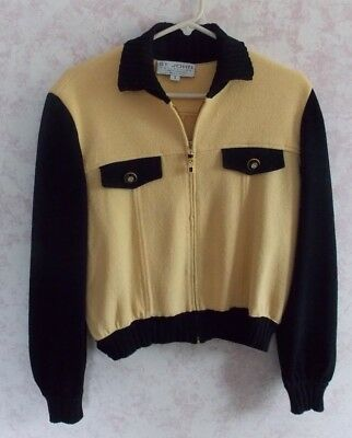 """St. John Collection By Marie Gray Knit Full Zip Short Sweater Jacket """"small"""""""