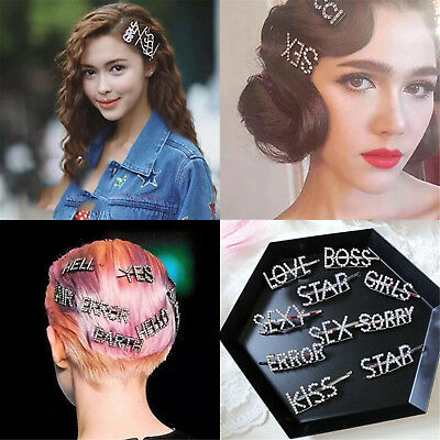 Fashion Women Girls Rhinestone Hair Clip Crystal Letters Hair Pin Slide Grips UP