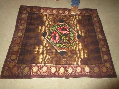 """Antique Victorian Chase & Co. Sleigh Blanket With Flowers  4'9"""" X 4'       K#5H"""
