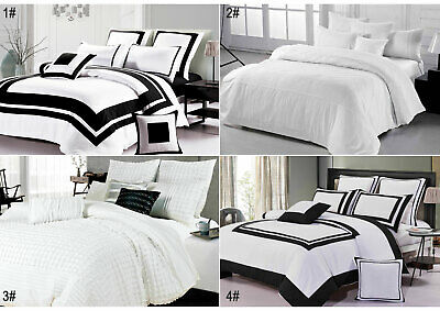 Black and White Quilt Cover Chevron Striped Duvet Cover Set - Queen / Super King