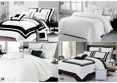 Black and White Quilt Cover Grey Chevron Stripe Doona Cover Set SUPER KING QUEEN