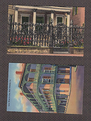Vintage Postcard Lot LA - NEW ORLEANS Ornamental Iron Lace & Corn Design Fence