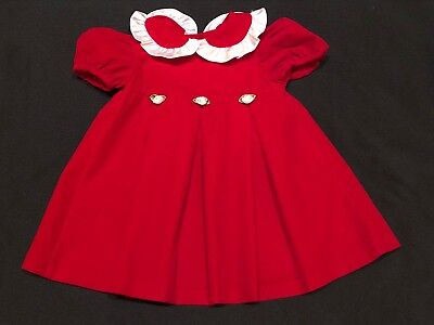 3dd72d044fa Vintage Evy Baby Toddler Girl 2T Red Velvet Xmas Dress Satin Ruffle Collar  USA