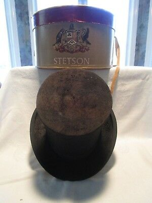 Antique-Rare-Ooak-Stetson Top Hat-Grand Prize 1889 Paris Worlds Fair-     #b1