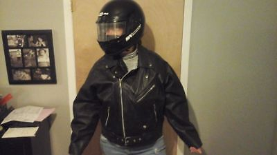 full face moto helmet and vintage leather moto jacket