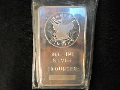 10 oz silver .999 Pure Silver Bar, Sunshine Minting Mint Mark SI