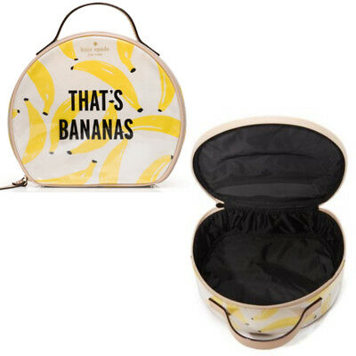 43a01bb13a Kate Spade Flights of Fancy Banana Round Zip Large Cosmetic Makeup Travel  Case