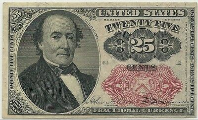 1874 US 25 Cents Fractional Currency Note * 25c FR 1309 Robert Walker 5th Issue