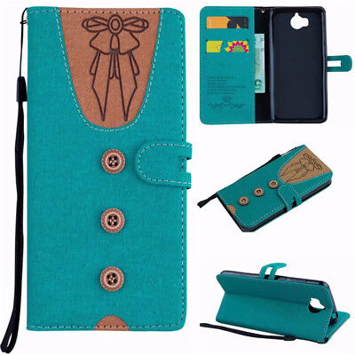 Huawei Y5 Y6 2017 Canvas Leather Card Wallet Flip Stand Men's Women's Cover Case