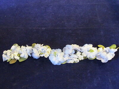 "Vintage Millinery Flower Blue Ivory 20"" Garland for Hat Headband + Hair IH6"