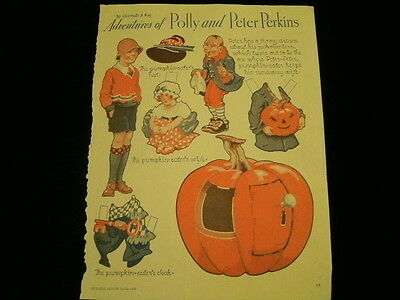 1934 Adventures Of Polly & Peter Perkins Halloween Kürbis Uncut Anziehpuppe A42A