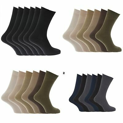 Mens 100% Cotton Ribbed /Rib Classic Casual Crew Socks (Pack Of 6) US (MB144)