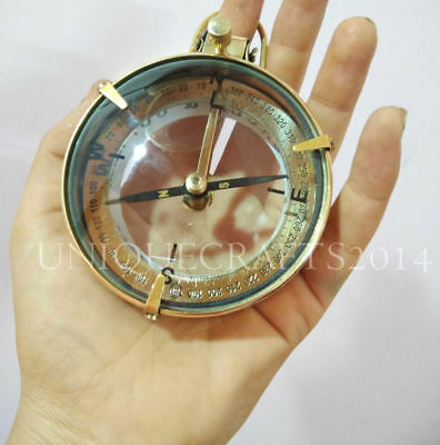 "Antique Nautical Brass Spencer Compass Maritime 3"" Vintage Glass Marine Gift"