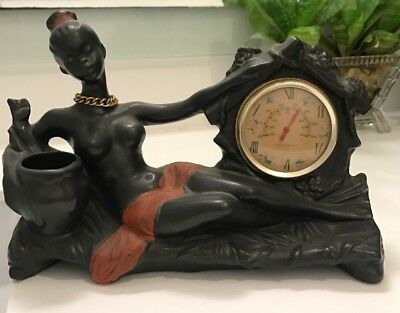 RARE BARSONY STYLE BLACK AFRICAN SEMI NAKED LADY FIGURE THERMOMETER  c1960